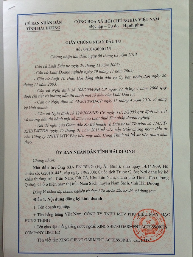 Hai duong eregulations investment certificate renewed amended yelopaper Choice Image