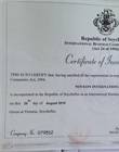 Vietnamese or English version of Certificate of Incorporation
